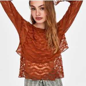 🧶NWT ZARA LAYERED LACE TOP🧶